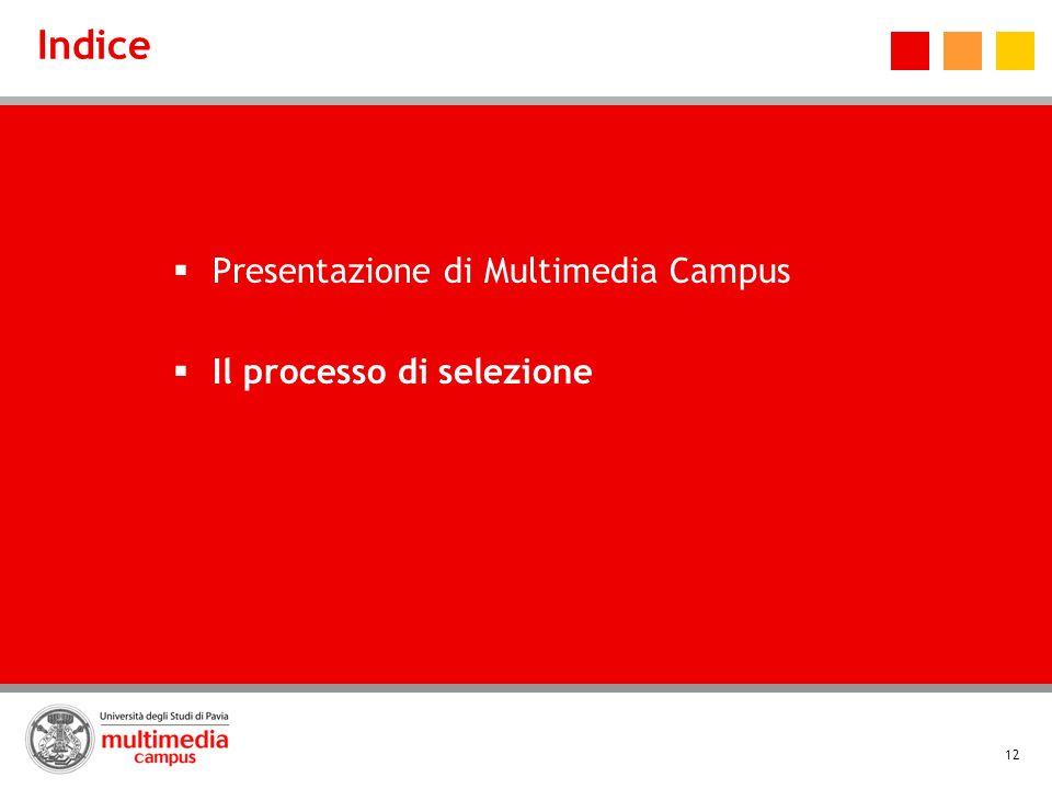 12 Indice Presentazione di Multimedia Campus Il processo di selezione