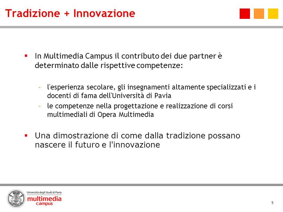 5 Tradizione + Innovazione In Multimedia Campus il contributo dei due partner è determinato dalle rispettive competenze: –l'esperienza secolare, gli i