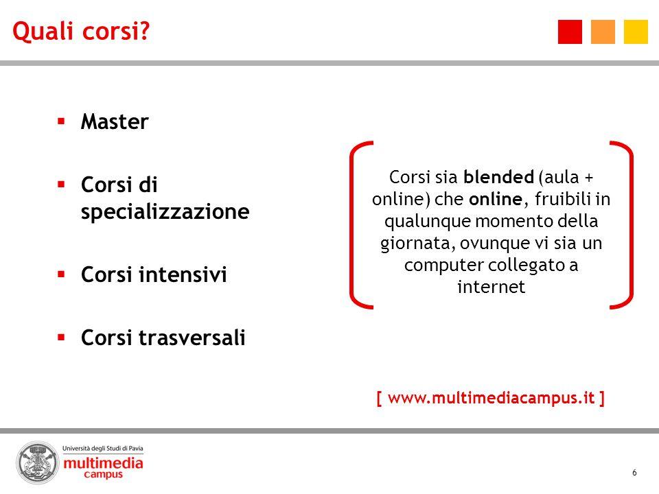 6 Quali corsi? Master Corsi di specializzazione Corsi intensivi Corsi trasversali Corsi sia blended (aula + online) che online, fruibili in qualunque