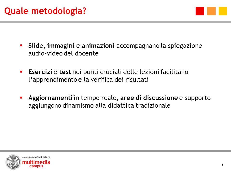 7 Quale metodologia? Slide, immagini e animazioni accompagnano la spiegazione audio-video del docente Esercizi e test nei punti cruciali delle lezioni
