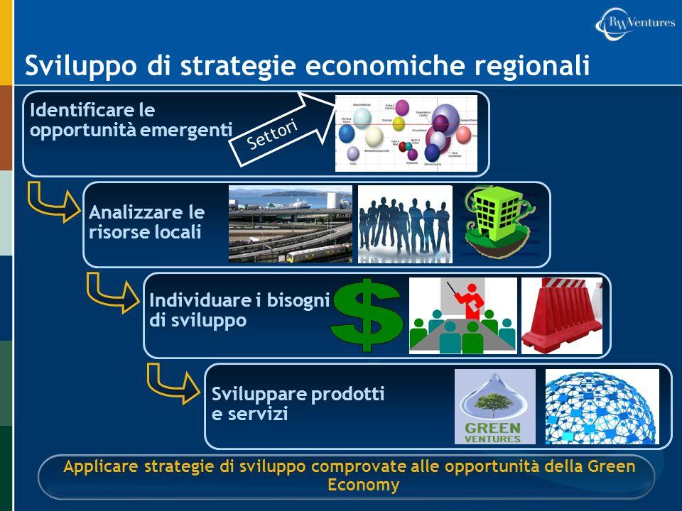 Sviluppo di strategie economiche regionali Identificare le opportunità emergenti Applicare strategie di sviluppo comprovate alle opportunità della Gre