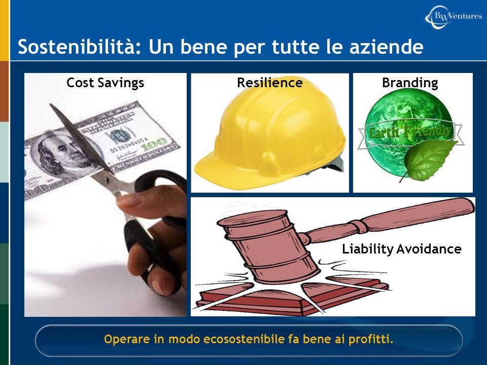 Sostenibilità: Un bene per tutte le aziende Operare in modo ecosostenibile fa bene ai profitti. Cost SavingsResilienceBranding Liability Avoidance