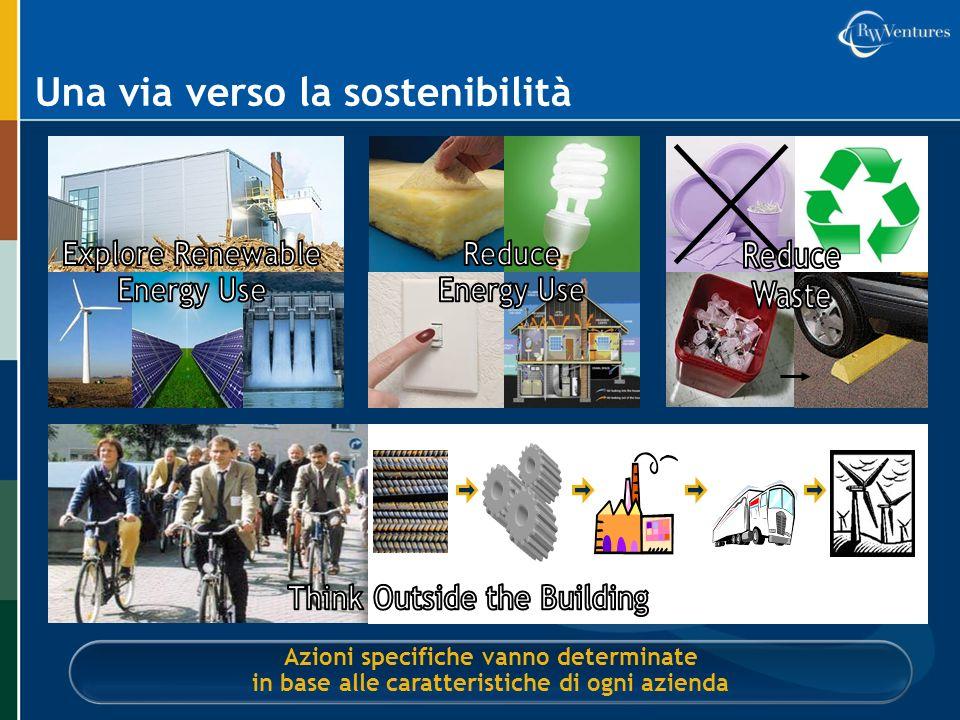 Una via verso la sostenibilità Azioni specifiche vanno determinate in base alle caratteristiche di ogni azienda