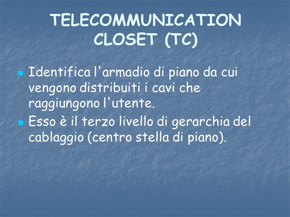 TELECOMMUNICATION CLOSET (TC) Identifica l'armadio di piano da cui vengono distribuiti i cavi che raggiungono l'utente. Esso è il terzo livello di ger