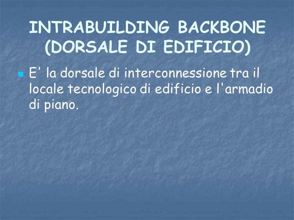 INTRABUILDING BACKBONE (DORSALE DI EDIFICIO) E' la dorsale di interconnessione tra il locale tecnologico di edificio e l'armadio di piano.