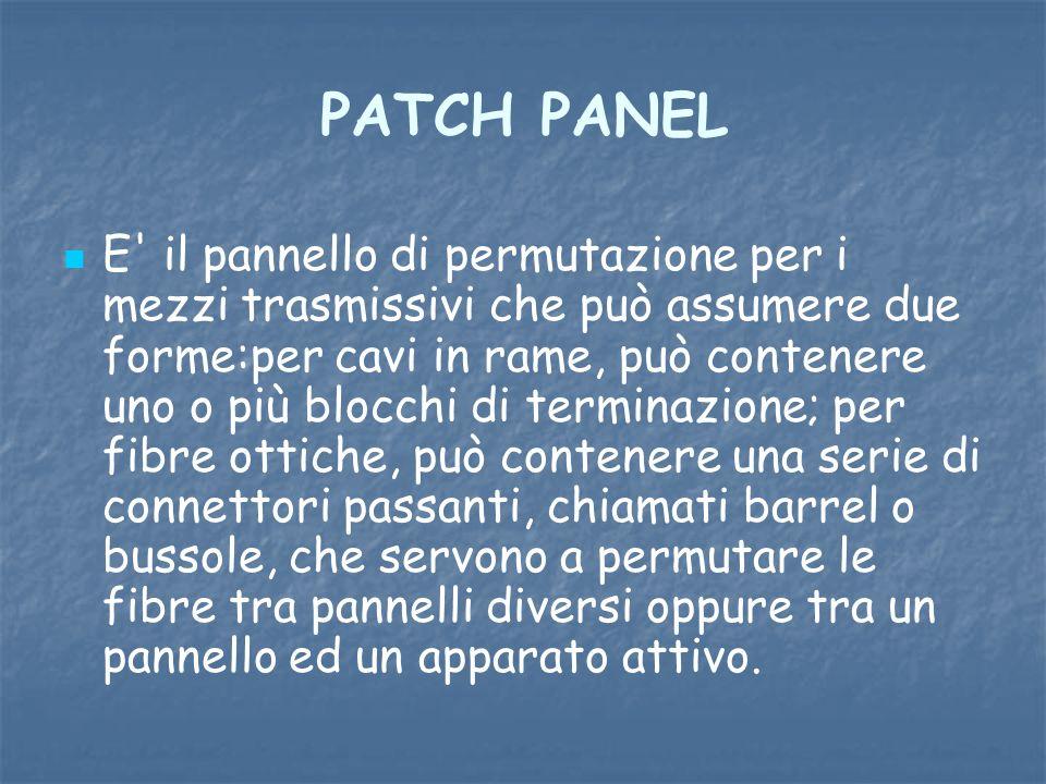 PATCH PANEL E' il pannello di permutazione per i mezzi trasmissivi che può assumere due forme:per cavi in rame, può contenere uno o più blocchi di ter
