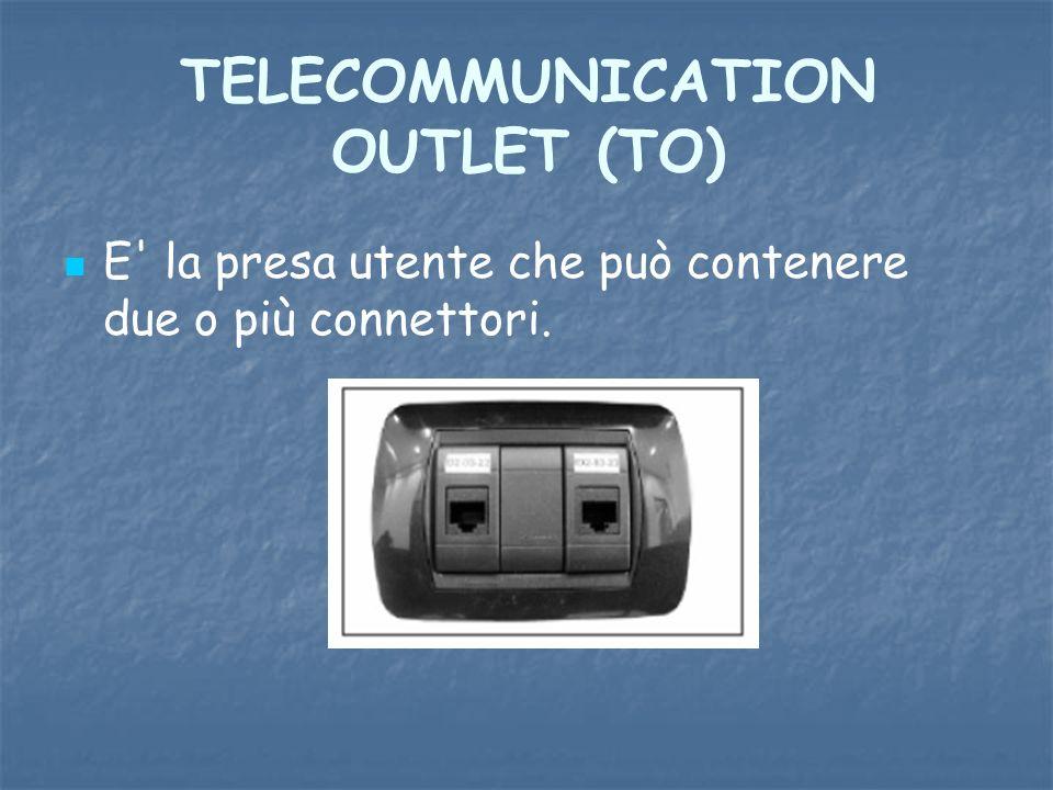 TELECOMMUNICATION OUTLET (TO) E' la presa utente che può contenere due o più connettori.
