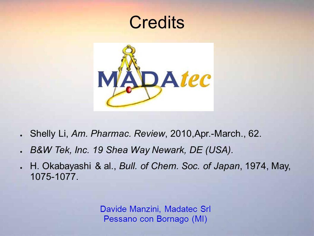 Credits Shelly Li, Am. Pharmac. Review, 2010,Apr.-March., 62. B&W Tek, Inc. 19 Shea Way Newark, DE (USA). H. Okabayashi & al., Bull. of Chem. Soc. of