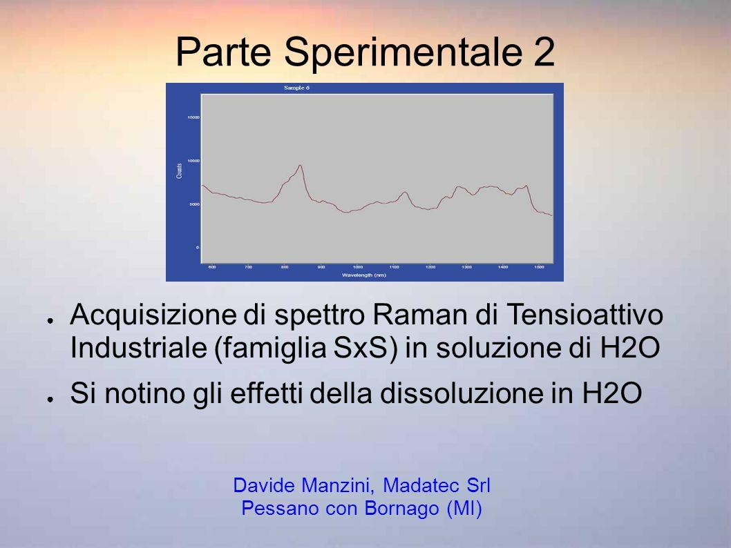 Parte Sperimentale 2 Acquisizione di spettro Raman di Tensioattivo Industriale (famiglia SxS) in soluzione di H2O Si notino gli effetti della dissoluz