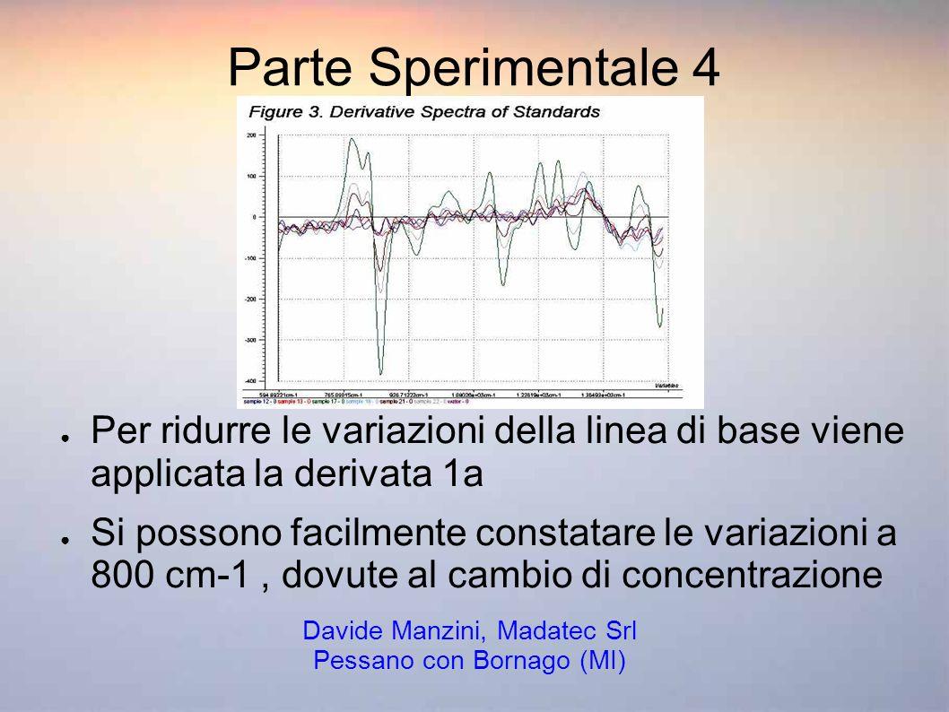 Parte Sperimentale 4 Per ridurre le variazioni della linea di base viene applicata la derivata 1a Si possono facilmente constatare le variazioni a 800