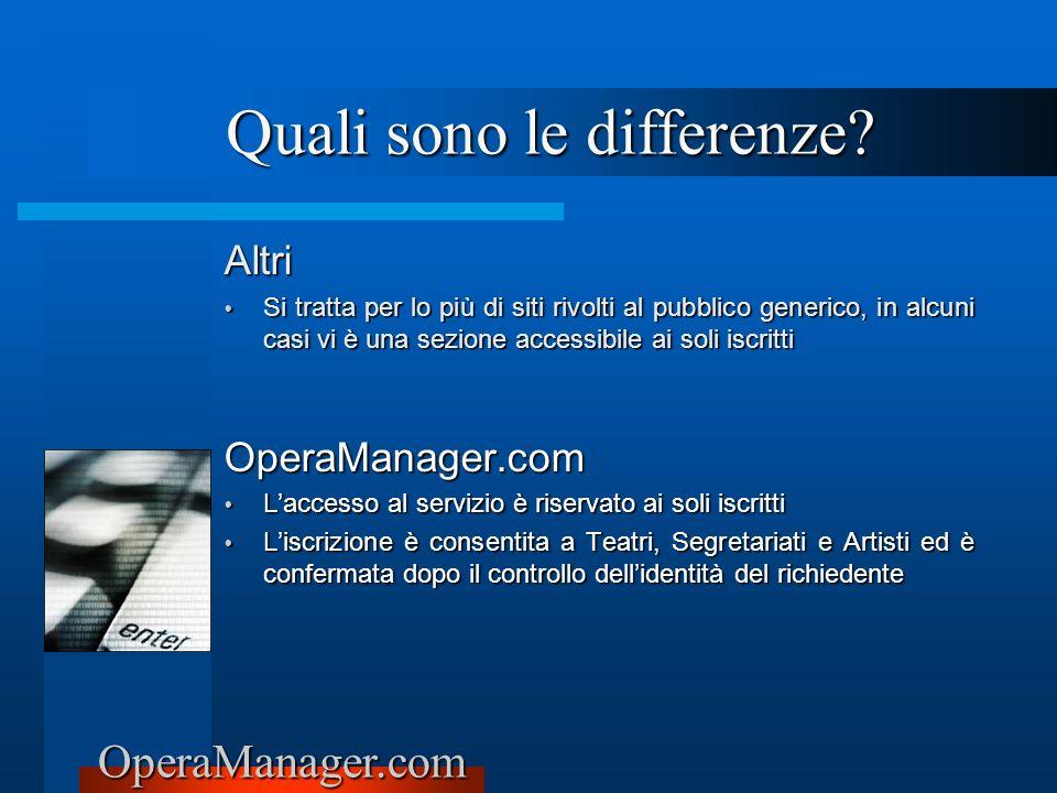 OperaManager.com Altri Si tratta per lo più di siti rivolti al pubblico generico, in alcuni casi vi è una sezione accessibile ai soli iscritti Si trat