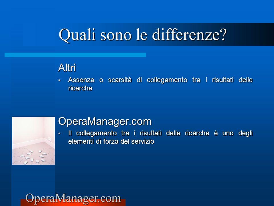 OperaManager.com Altri Assenza o scarsità di collegamento tra i risultati delle ricerche Assenza o scarsità di collegamento tra i risultati delle rice