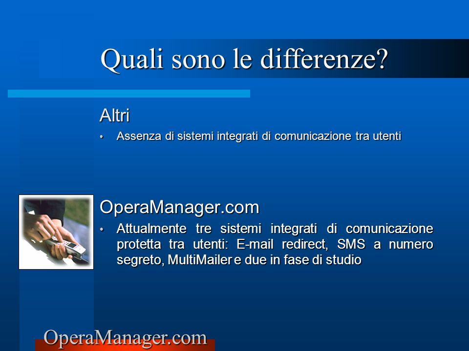 OperaManager.com Altri Assenza di sistemi integrati di comunicazione tra utenti Assenza di sistemi integrati di comunicazione tra utenti OperaManager.