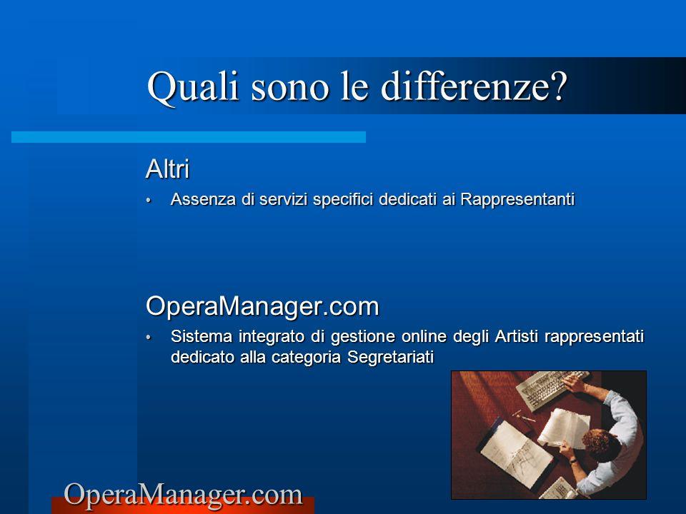 OperaManager.com Altri Assenza di servizi specifici dedicati ai Rappresentanti Assenza di servizi specifici dedicati ai RappresentantiOperaManager.com