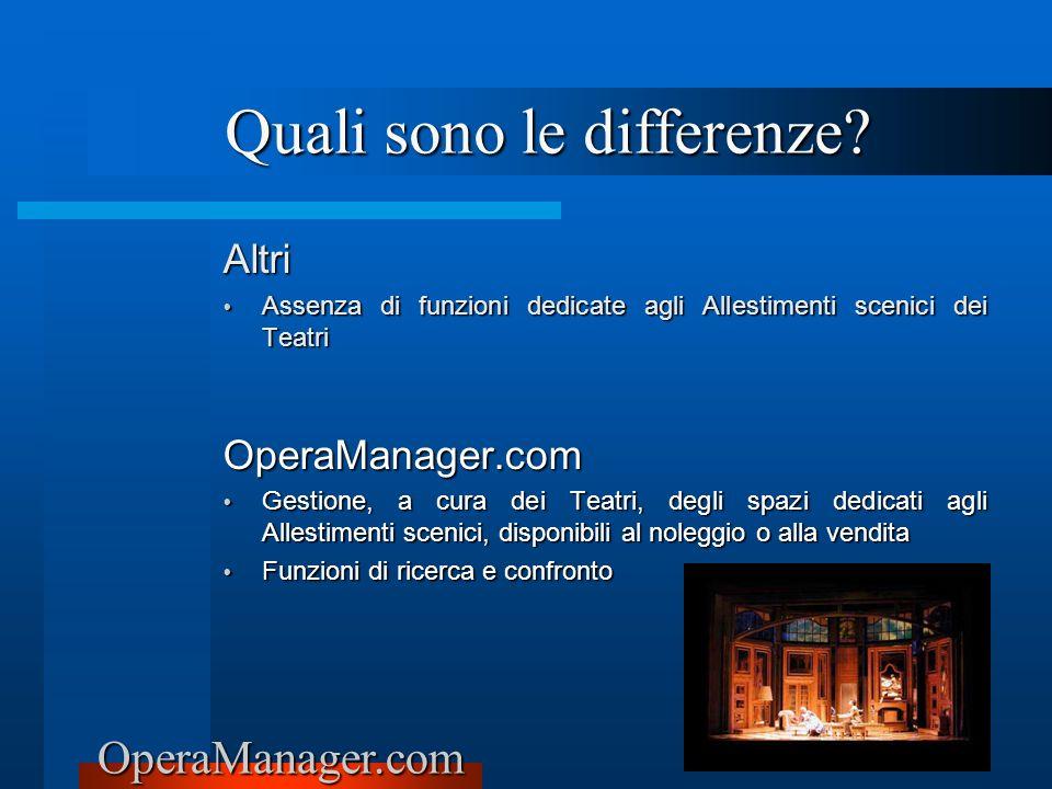 OperaManager.com Altri Assenza di funzioni dedicate agli Allestimenti scenici dei Teatri Assenza di funzioni dedicate agli Allestimenti scenici dei Te