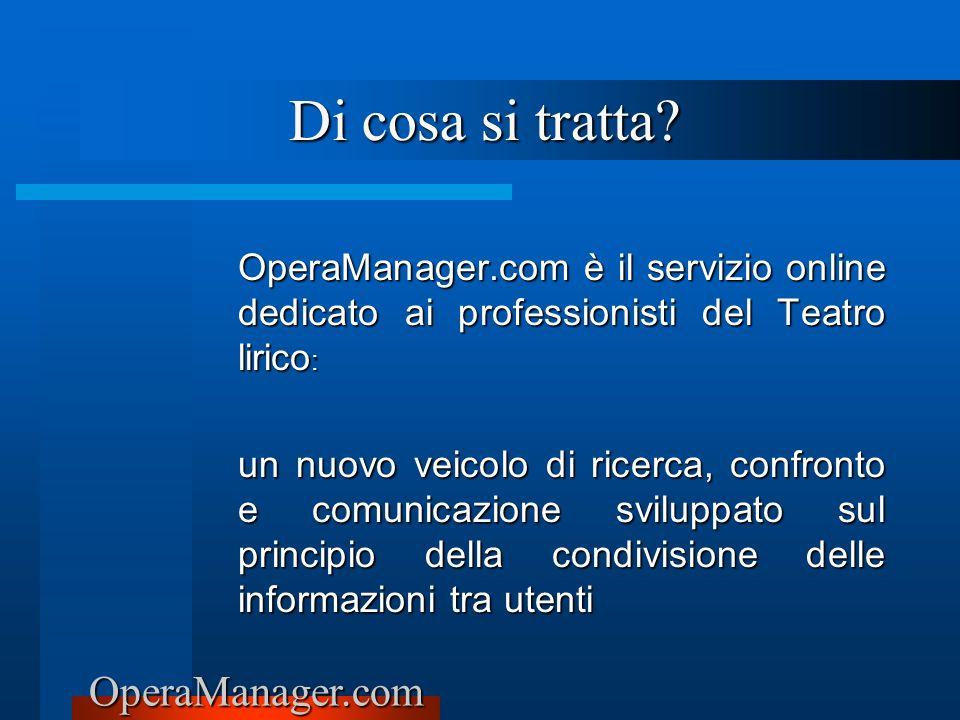 OperaManager.com Di cosa si tratta? OperaManager.com è il servizio online dedicato ai professionisti del Teatro lirico : un nuovo veicolo di ricerca,