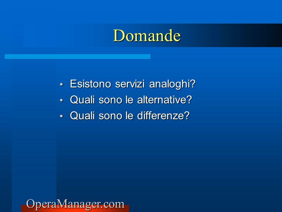 OperaManager.com Esistono servizi analoghi? Esistono servizi analoghi? Quali sono le alternative? Quali sono le alternative? Quali sono le differenze?