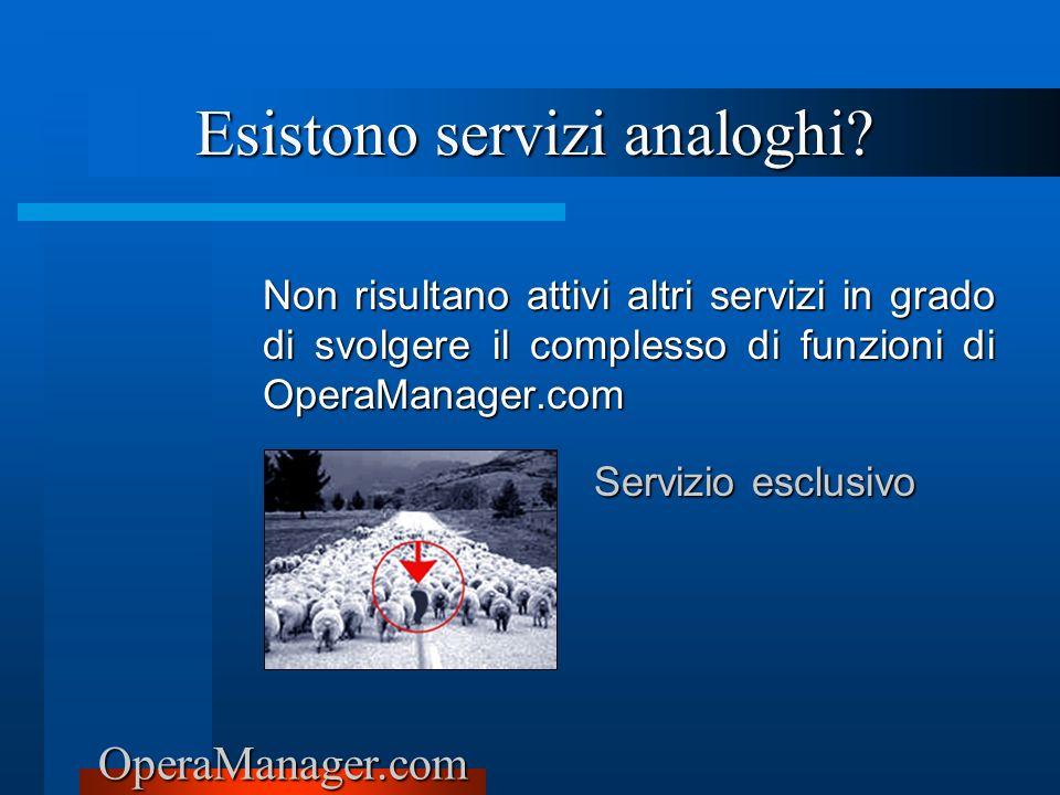 OperaManager.com Esistono servizi analoghi? Non risultano attivi altri servizi in grado di svolgere il complesso di funzioni di OperaManager.com Servi