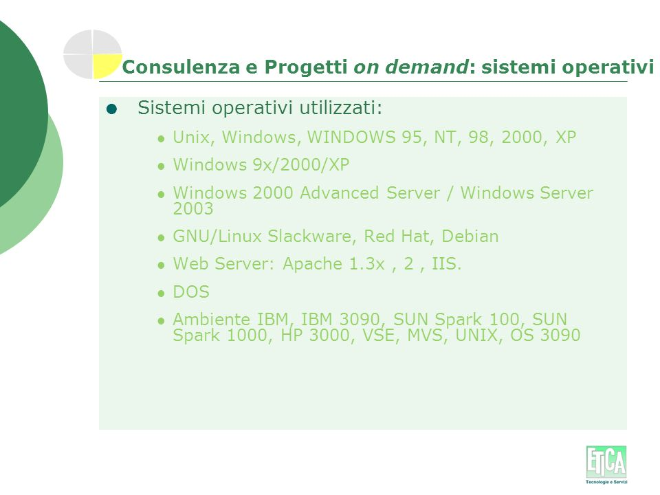 Consulenza e Progetti on demand: sistemi operativi Sistemi operativi utilizzati: Unix, Windows, WINDOWS 95, NT, 98, 2000, XP Windows 9x/2000/XP Window