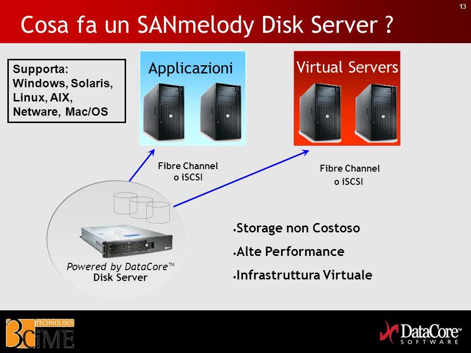 13 Cosa fa un SANmelody Disk Server ? Powered by DataCore Disk Server Fibre Channel o iSCSI Applicazioni Virtual Servers Storage non Costoso Alte Perf