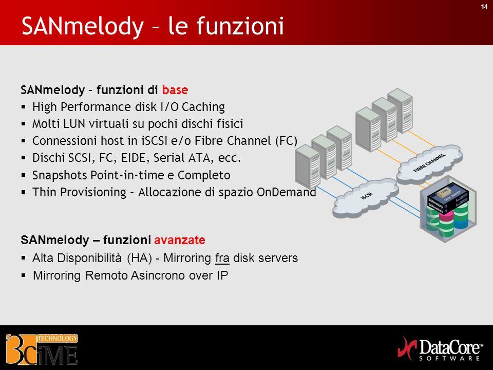 14 SANmelody – le funzioni SANmelody – funzioni di base High Performance disk I/O Caching Molti LUN virtuali su pochi dischi fisici Connessioni host i