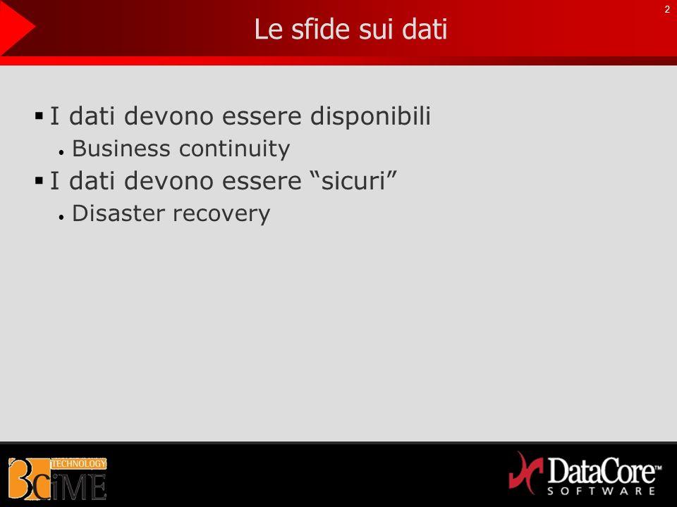Le sfide sui dati I dati devono essere disponibili Business continuity I dati devono essere sicuri Disaster recovery 2