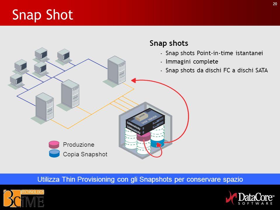 20 Snap Shot Snap shots - Snap shots Point-in-time istantanei - Immagini complete - Snap shots da dischi FC a dischi SATA Produzione Copia Snapshot Ut