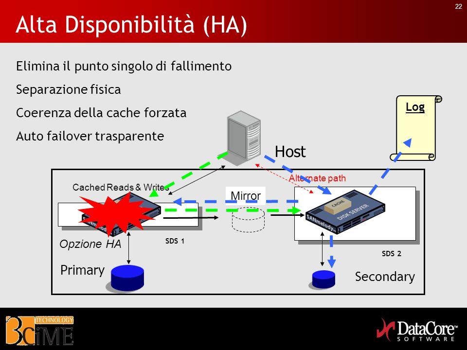 22 Log Alta Disponibilità (HA) Host Primary Cached Reads & Writes Mirror Opzione HA Alternate path Elimina il punto singolo di fallimento Separazione