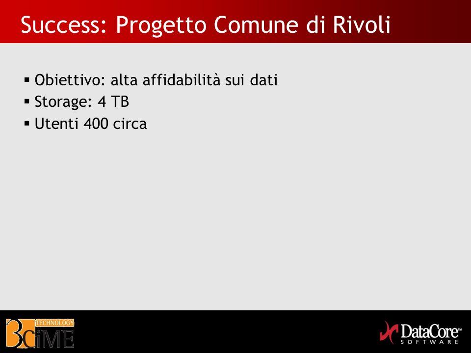 Success: Progetto Comune di Rivoli Obiettivo: alta affidabilità sui dati Storage: 4 TB Utenti 400 circa