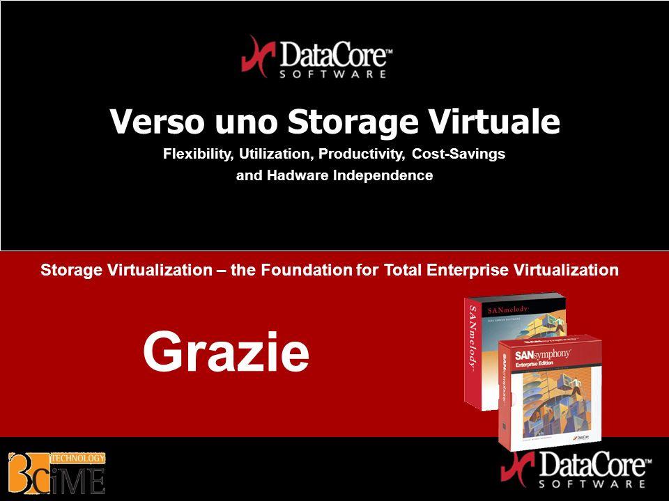 DataCore Software Proprietary Information Verso uno Storage Virtuale Flexibility, Utilization, Productivity, Cost-Savings and Hadware Independence Gra