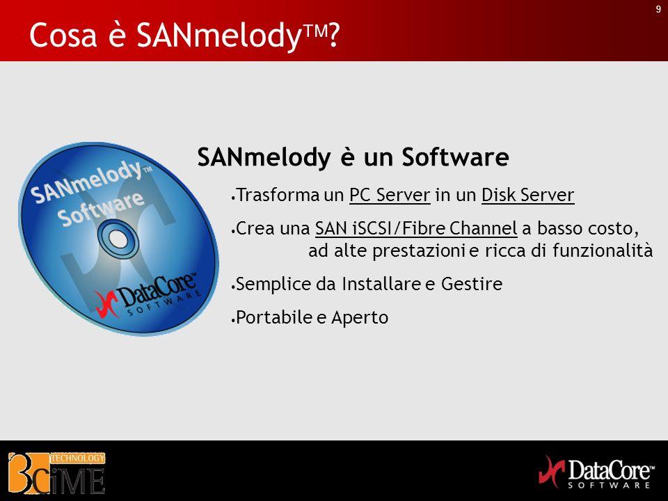 9 Cosa è SANmelody ? SANmelody è un Software Trasforma un PC Server in un Disk Server Crea una SAN iSCSI/Fibre Channel a basso costo, ad alte prestazi