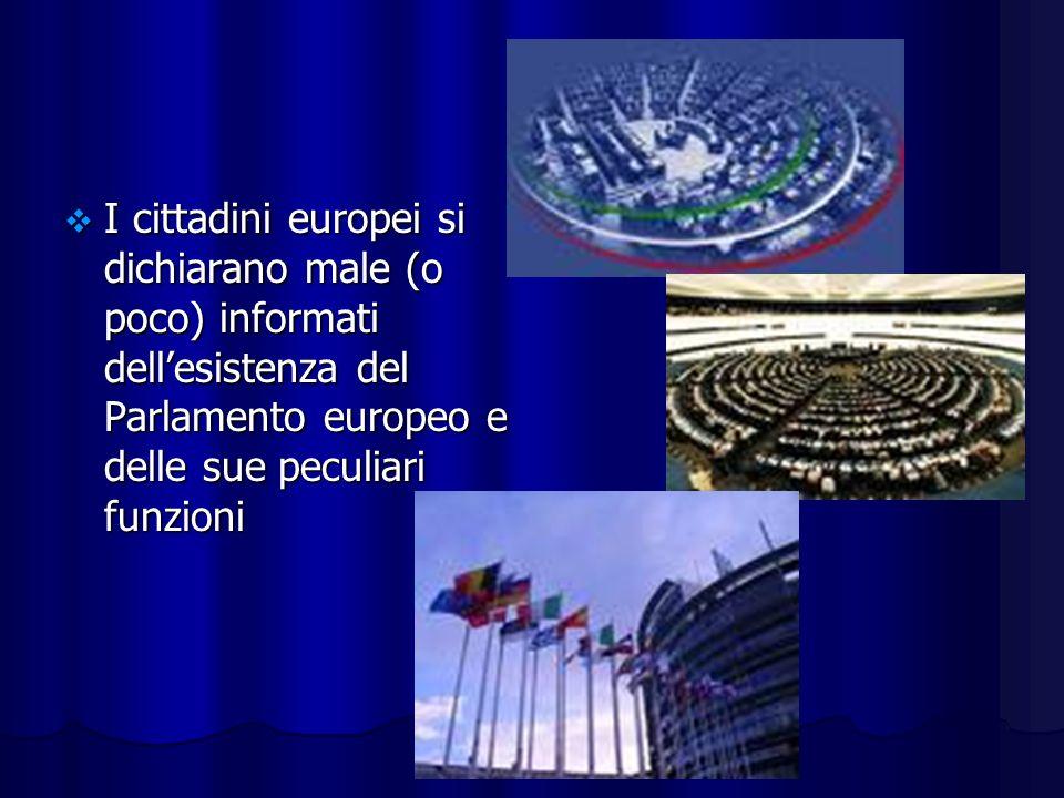 I cittadini europei si dichiarano male (o poco) informati dellesistenza del Parlamento europeo e delle sue peculiari funzioni I cittadini europei si dichiarano male (o poco) informati dellesistenza del Parlamento europeo e delle sue peculiari funzioni