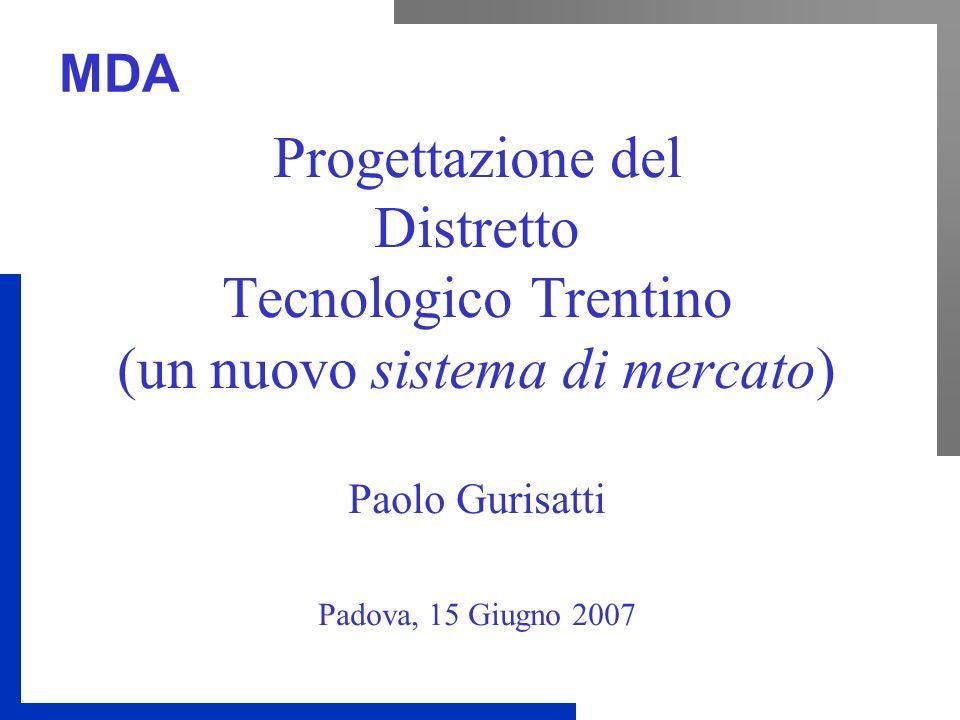 MDA Progettazione del Distretto Tecnologico Trentino (un nuovo sistema di mercato) Paolo Gurisatti Padova, 15 Giugno 2007