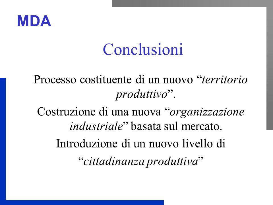 MDA Conclusioni Processo costituente di un nuovo territorio produttivo. Costruzione di una nuova organizzazione industriale basata sul mercato. Introd