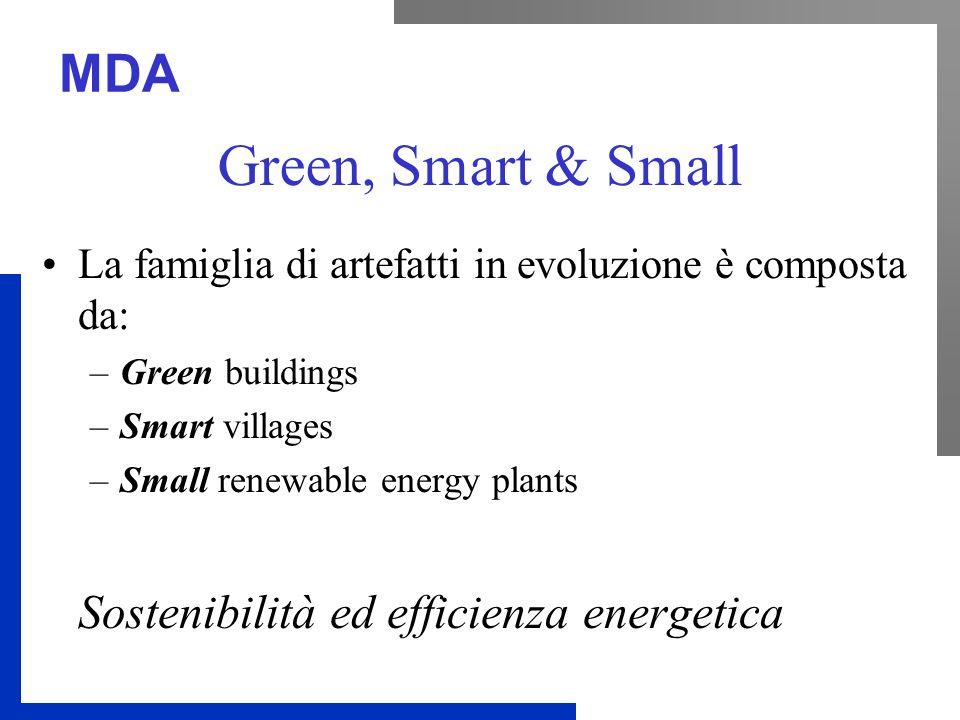 MDA Green, Smart & Small La famiglia di artefatti in evoluzione è composta da: –Green buildings –Smart villages –Small renewable energy plants Sosteni