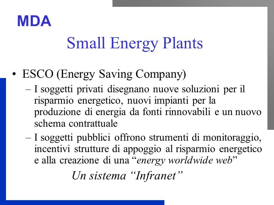 MDA Small Energy Plants ESCO (Energy Saving Company) –I soggetti privati disegnano nuove soluzioni per il risparmio energetico, nuovi impianti per la