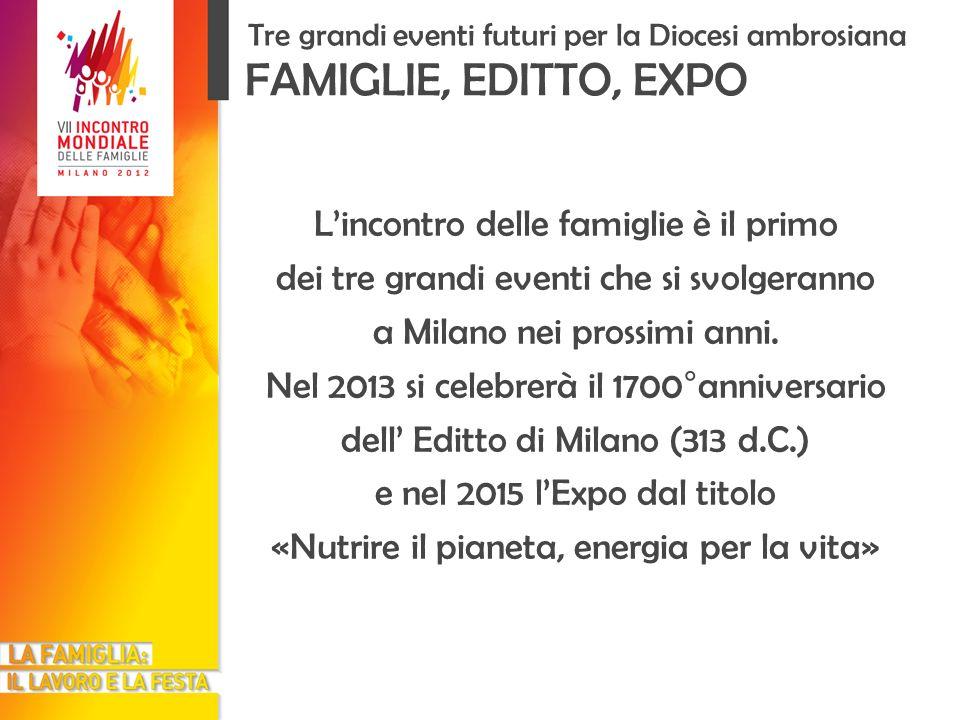 Lincontro delle famiglie è il primo dei tre grandi eventi che si svolgeranno a Milano nei prossimi anni. Nel 2013 si celebrerà il 1700°anniversario de