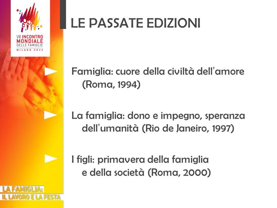 LE PASSATE EDIZIONI Famiglia: cuore della civiltà dell amore (Roma, 1994) La famiglia: dono e impegno, speranza dell umanità (Rio de Janeiro, 1997) I
