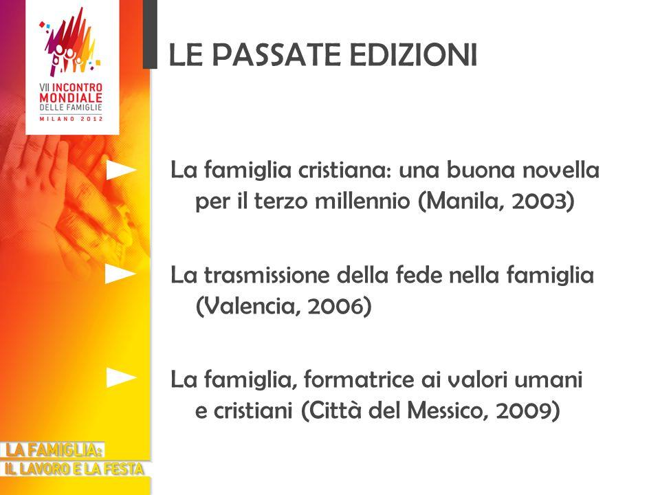 LE PASSATE EDIZIONI La famiglia cristiana: una buona novella per il terzo millennio (Manila, 2003) La trasmissione della fede nella famiglia (Valencia