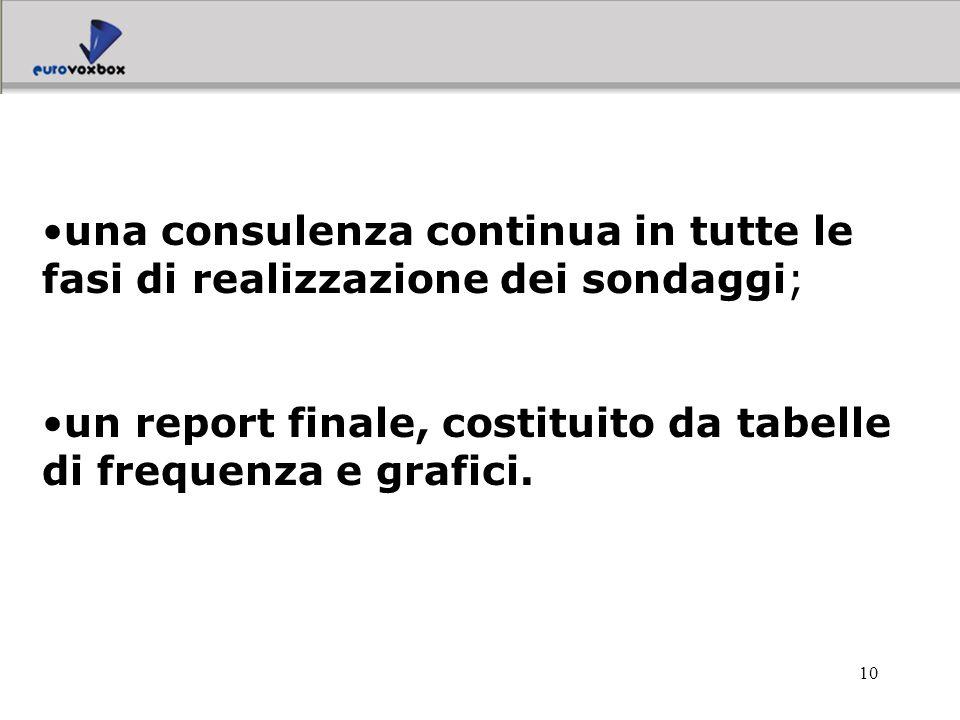 10 una consulenza continua in tutte le fasi di realizzazione dei sondaggi; un report finale, costituito da tabelle di frequenza e grafici.