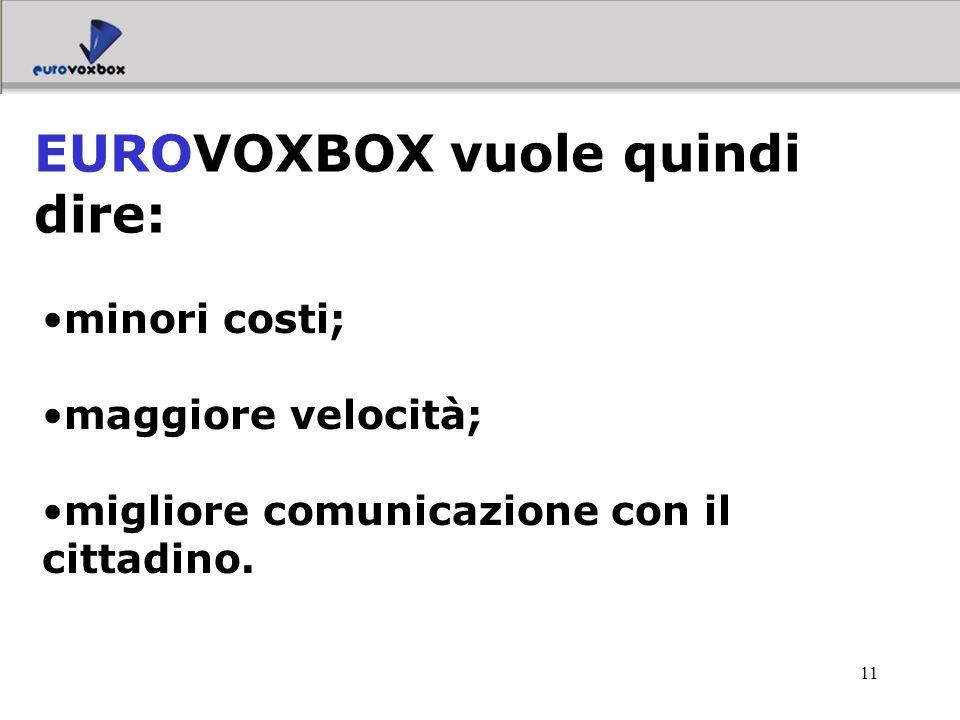 11 minori costi; maggiore velocità; migliore comunicazione con il cittadino. EUROVOXBOX vuole quindi dire: