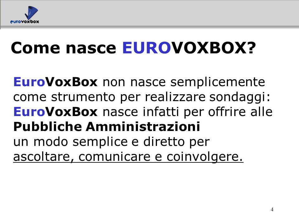 4 EuroVoxBox non nasce semplicemente come strumento per realizzare sondaggi: EuroVoxBox nasce infatti per offrire alle Pubbliche Amministrazioni un mo