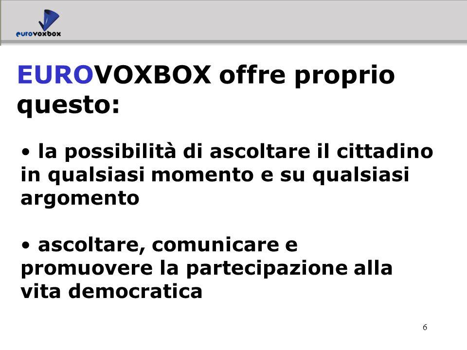 17 Camere di Commercio Multiutilities Pubblica Amministrazione in genere A chi si rivolge EUROVOXBOX:
