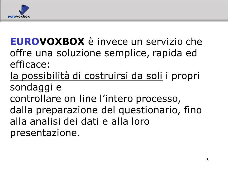 9 Infatti il servizio EUROVOXBOX fornisce: un software erogato in modalità ASP per pubblicare on line i propri questionari, gestire la rilevazione, monitorare i risultati;