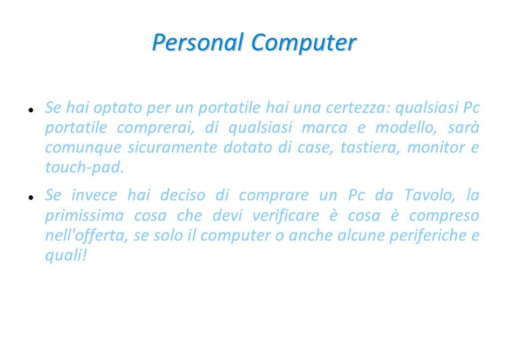 Un personal computer è formato da: CPU RAM Scheda madre Hard disk Scheda video Alimentatore Case Scheda audio lettore CD o DVD ROM oppure masterizzatore CD o DVD Scheda di rete