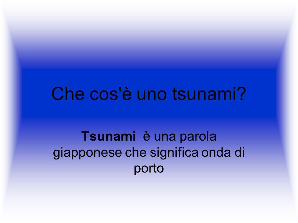 Che cos'è uno tsunami? Tsunami è una parola giapponese che significa onda di porto