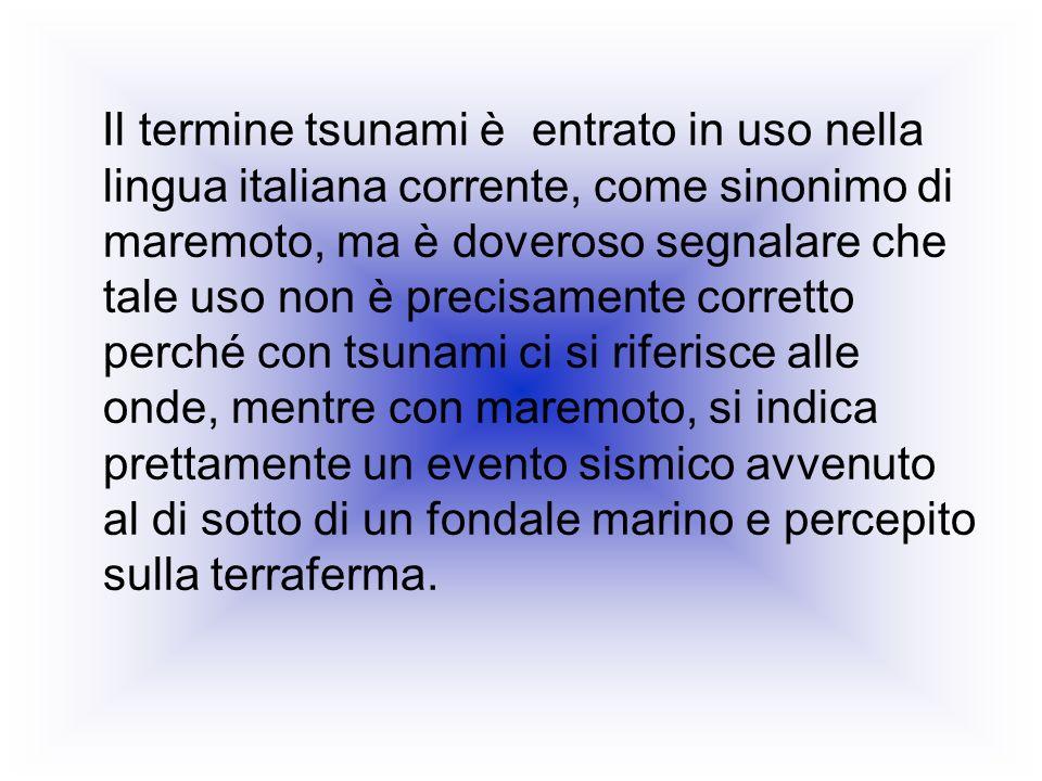 Il termine tsunami è entrato in uso nella lingua italiana corrente, come sinonimo di maremoto, ma è doveroso segnalare che tale uso non è precisamente