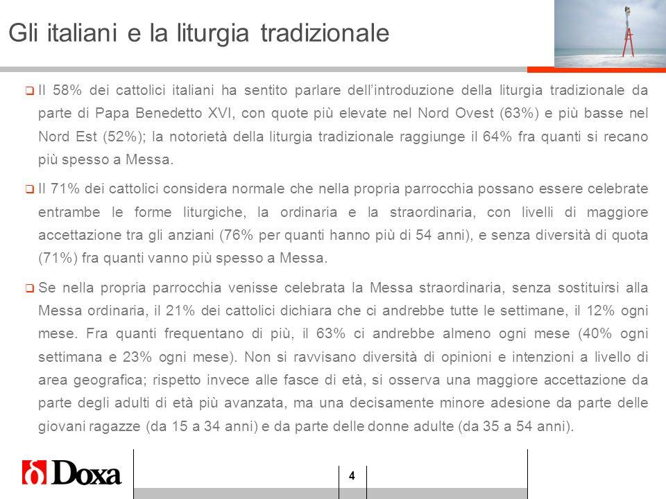 4 Gli italiani e la liturgia tradizionale Il 58% dei cattolici italiani ha sentito parlare dellintroduzione della liturgia tradizionale da parte di Pa