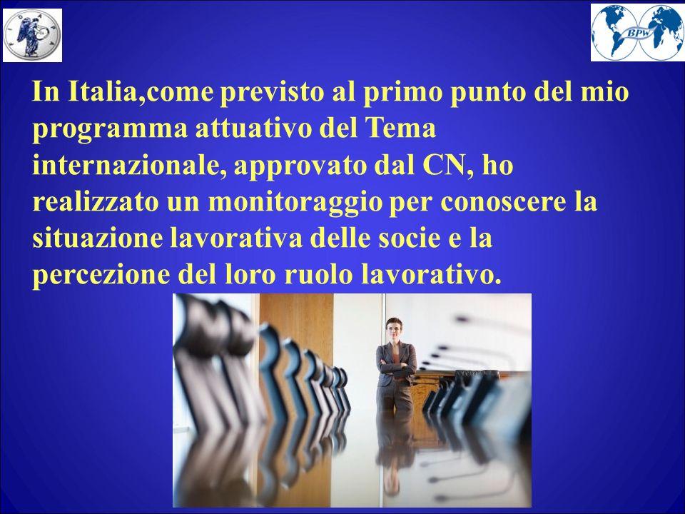 In Italia,come previsto al primo punto del mio programma attuativo del Tema internazionale, approvato dal CN, ho realizzato un monitoraggio per conoscere la situazione lavorativa delle socie e la percezione del loro ruolo lavorativo.