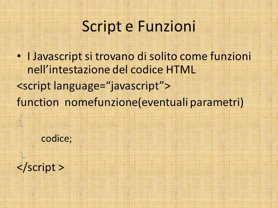 Script e Funzioni I Javascript si trovano di solito come funzioni nellintestazione del codice HTML function nomefunzione(eventuali parametri) codice;